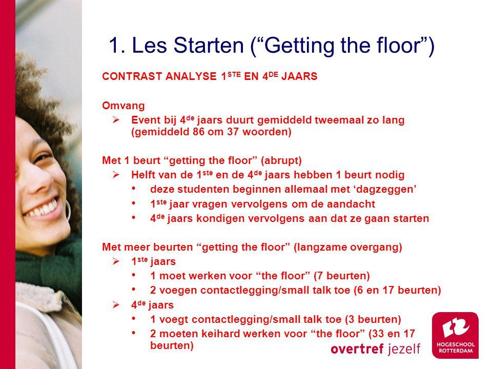 """1. Les Starten (""""Getting the floor"""") CONTRAST ANALYSE 1 STE EN 4 DE JAARS Omvang  Event bij 4 de jaars duurt gemiddeld tweemaal zo lang (gemiddeld 86"""