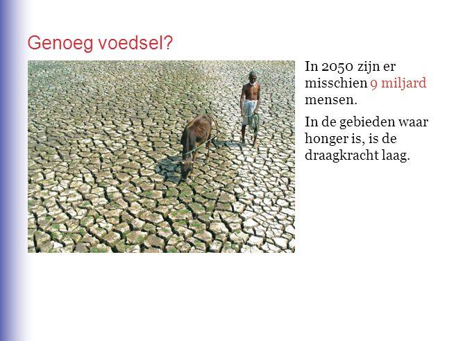 Genoeg voedsel? In 2050 zijn er misschien 9 miljard mensen. In de gebieden waar honger is, is de draagkracht laag.