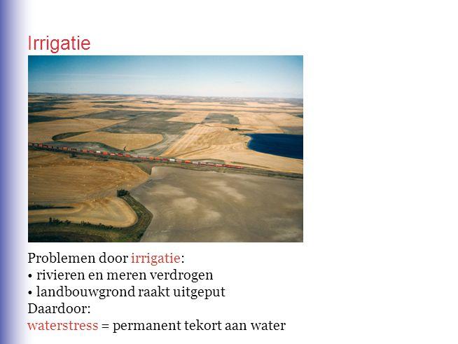 Irrigatie Problemen door irrigatie: rivieren en meren verdrogen landbouwgrond raakt uitgeput Daardoor: waterstress = permanent tekort aan water