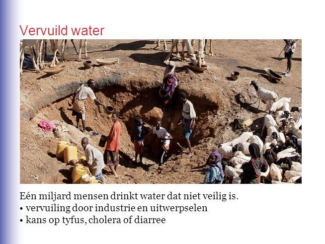 Vervuild water Eén miljard mensen drinkt water dat niet veilig is. vervuiling door industrie en uitwerpselen kans op tyfus, cholera of diarree