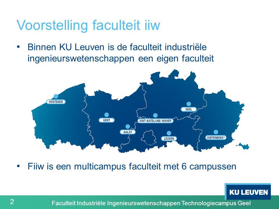 2 Voorstelling faculteit iiw Binnen KU Leuven is de faculteit industriële ingenieurswetenschappen een eigen faculteit Fiiw is een multicampus faculteit met 6 campussen Faculteit Industriële Ingenieurswetenschappen Technologiecampus Geel