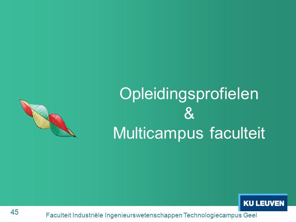 45 Opleidingsprofielen & Multicampus faculteit Faculteit Industriële Ingenieurswetenschappen Technologiecampus Geel