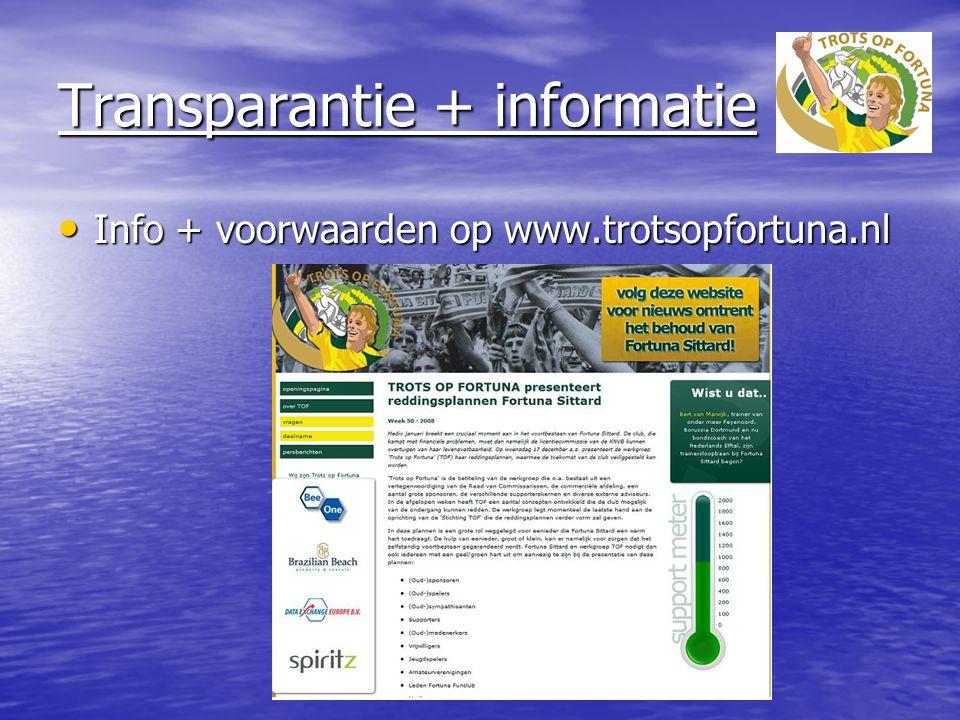 Transparantie + informatie Info + voorwaarden op www.trotsopfortuna.nl Info + voorwaarden op www.trotsopfortuna.nl