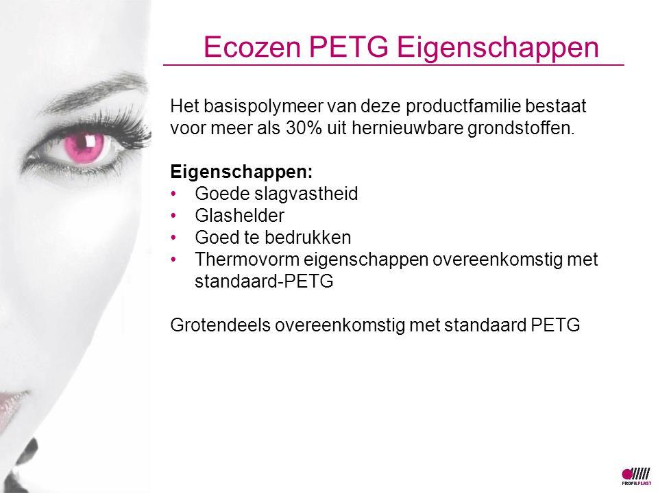 Ecozen PETG Eigenschappen Het basispolymeer van deze productfamilie bestaat voor meer als 30% uit hernieuwbare grondstoffen.