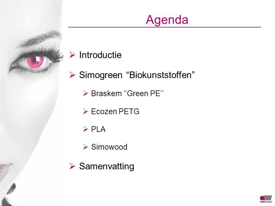 "Agenda  Introductie  Simogreen ""Biokunststoffen""  Braskem ''Green PE''  Ecozen PETG  PLA  Simowood  Samenvatting"