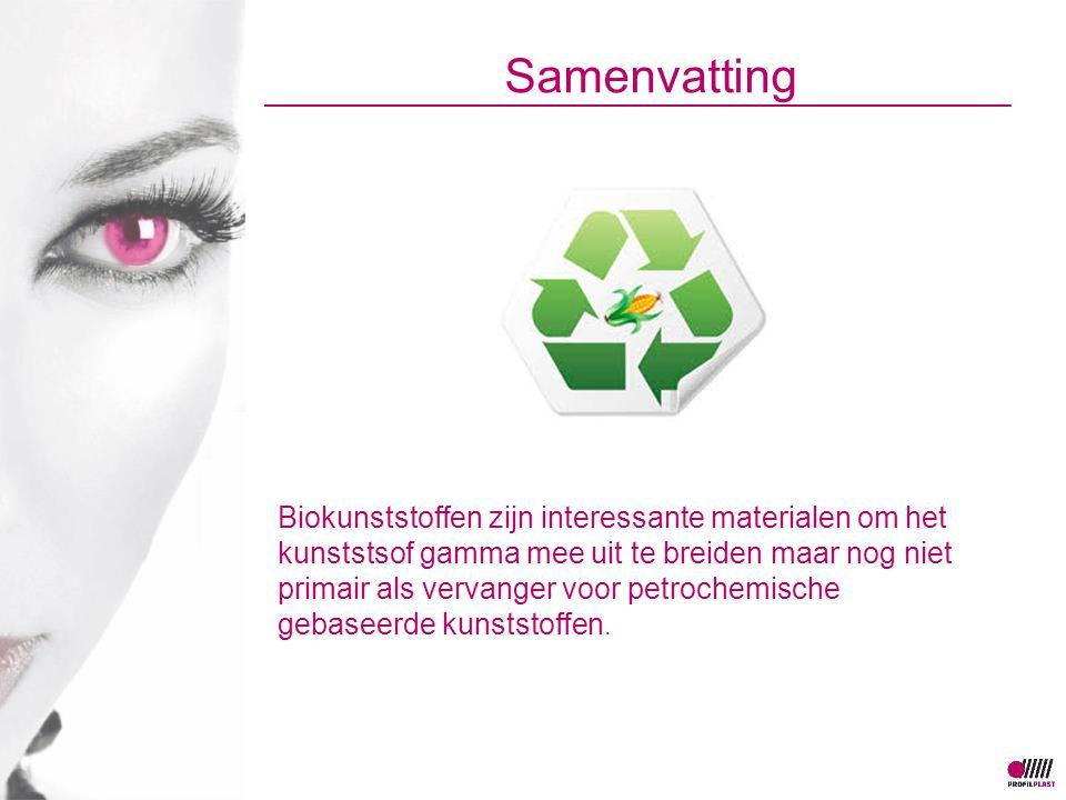 Samenvatting Biokunststoffen zijn interessante materialen om het kunststsof gamma mee uit te breiden maar nog niet primair als vervanger voor petrochemische gebaseerde kunststoffen.