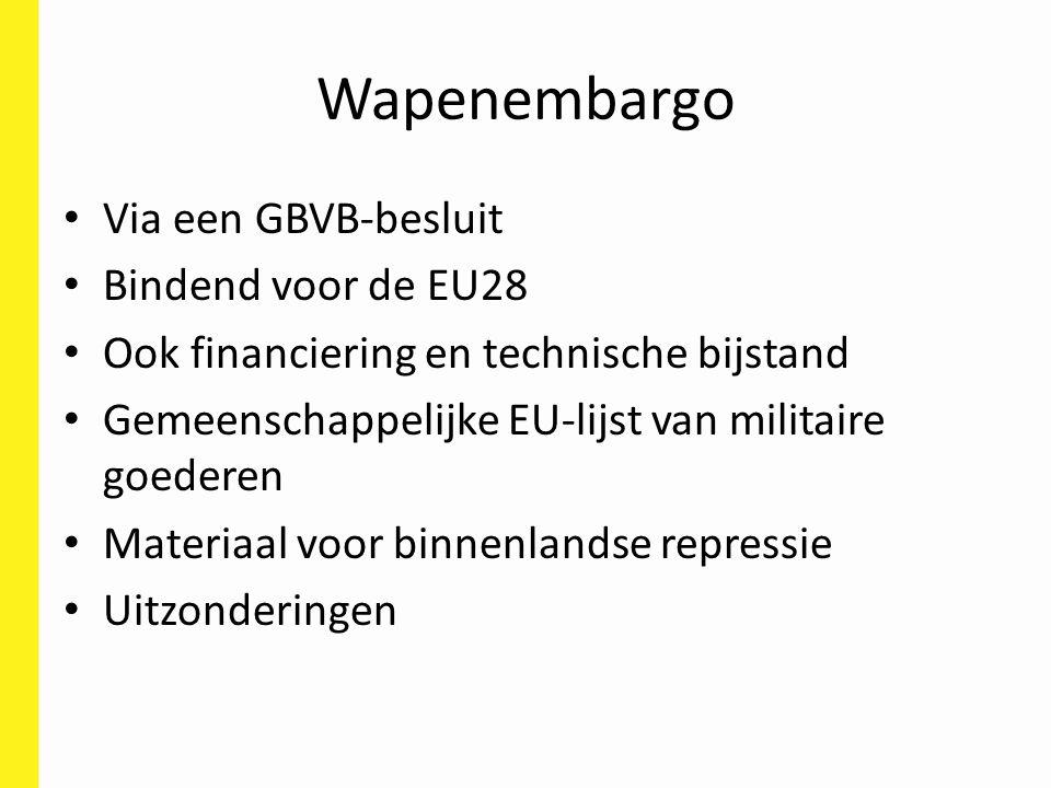 Wapenembargo Via een GBVB-besluit Bindend voor de EU28 Ook financiering en technische bijstand Gemeenschappelijke EU-lijst van militaire goederen Materiaal voor binnenlandse repressie Uitzonderingen