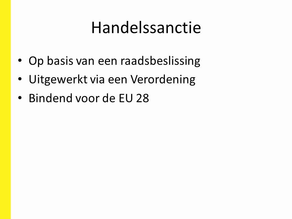 Handelssanctie Op basis van een raadsbeslissing Uitgewerkt via een Verordening Bindend voor de EU 28
