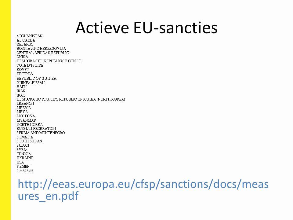 http://eeas.europa.eu/cfsp/sanctions/docs/meas ures_en.pdf Actieve EU-sancties