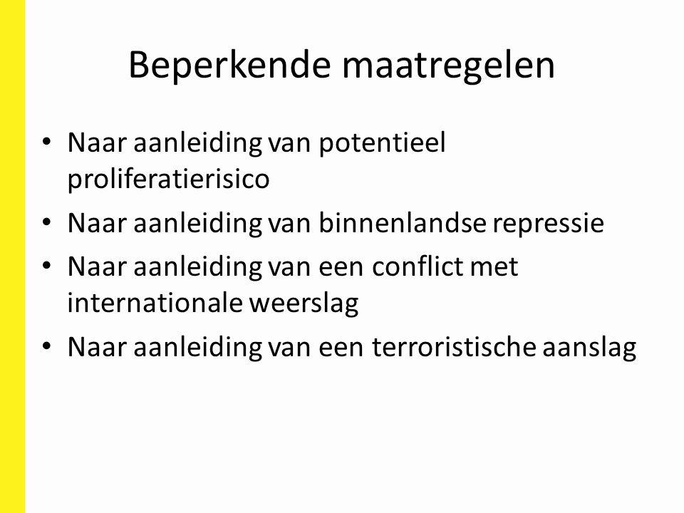 Beperkende maatregelen Naar aanleiding van potentieel proliferatierisico Naar aanleiding van binnenlandse repressie Naar aanleiding van een conflict met internationale weerslag Naar aanleiding van een terroristische aanslag
