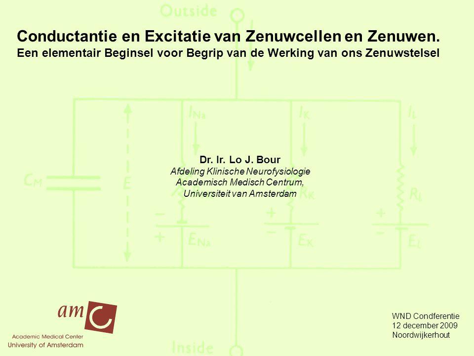 Conductantie en Excitatie van Zenuwcellen en Zenuwen.