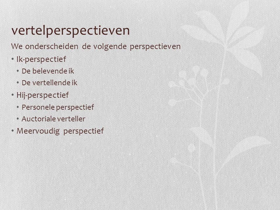 vertelperspectieven We onderscheiden de volgende perspectieven Ik-perspectief De belevende ik De vertellende ik Hij-perspectief Personele perspectief