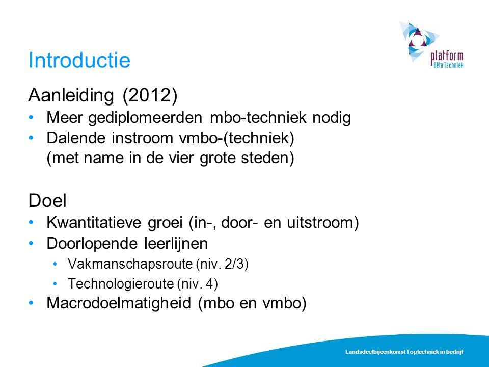 Introductie Aanleiding (2012) Meer gediplomeerden mbo-techniek nodig Dalende instroom vmbo-(techniek) (met name in de vier grote steden) Doel Kwantita