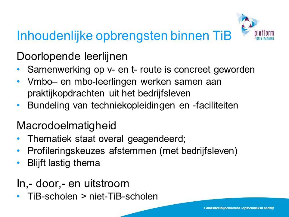 Inhoudenlijke opbrengsten binnen TiB Doorlopende leerlijnen Samenwerking op v- en t- route is concreet geworden Vmbo– en mbo-leerlingen werken samen a