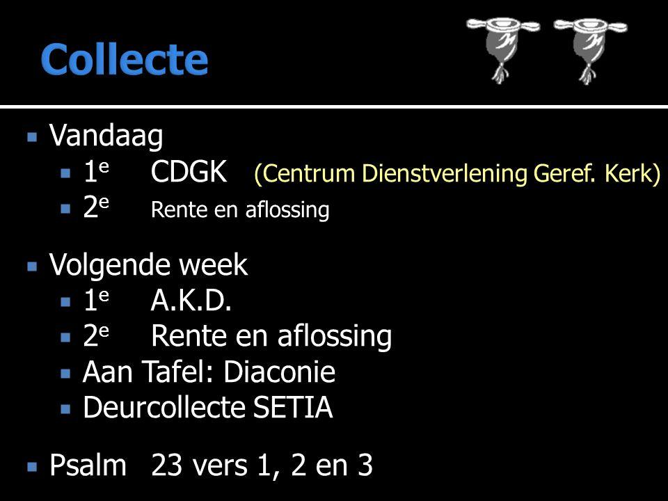  Vandaag  1 e CDGK (Centrum Dienstverlening Geref. Kerk)  2 e Rente en aflossing  Volgende week  1 e A.K.D.  2 e Rente en aflossing  Aan Tafel:
