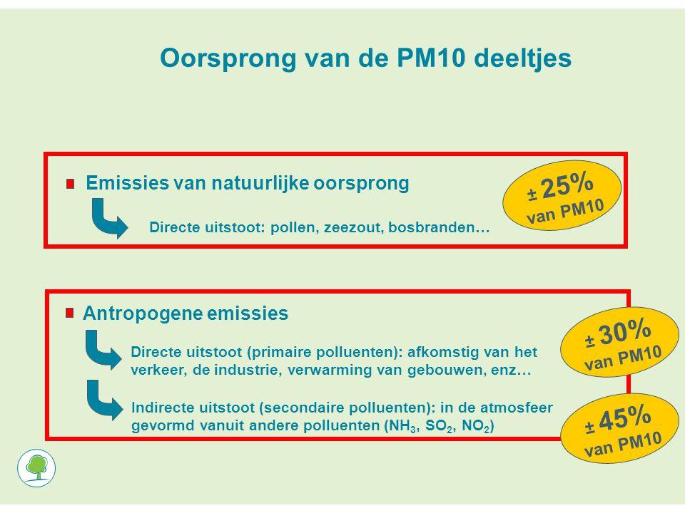 Oorsprong van de PM10 deeltjes Emissies van natuurlijke oorsprong Directe uitstoot: pollen, zeezout, bosbranden… Antropogene emissies Indirecte uitstoot (secondaire polluenten): in de atmosfeer gevormd vanuit andere polluenten (NH 3, SO 2, NO 2 ) Directe uitstoot (primaire polluenten): afkomstig van het verkeer, de industrie, verwarming van gebouwen, enz… ± 25% van PM10 ± 30% van PM10 ± 45% van PM10