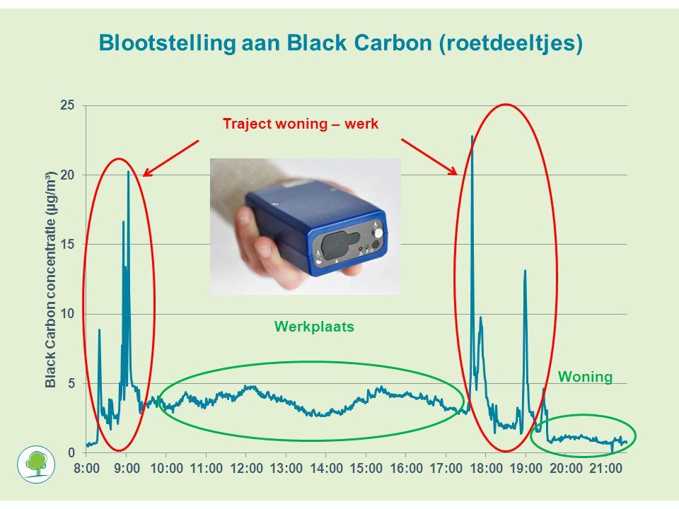 Blootstelling aan Black Carbon (roetdeeltjes) Traject woning – werk Werkplaats Woning