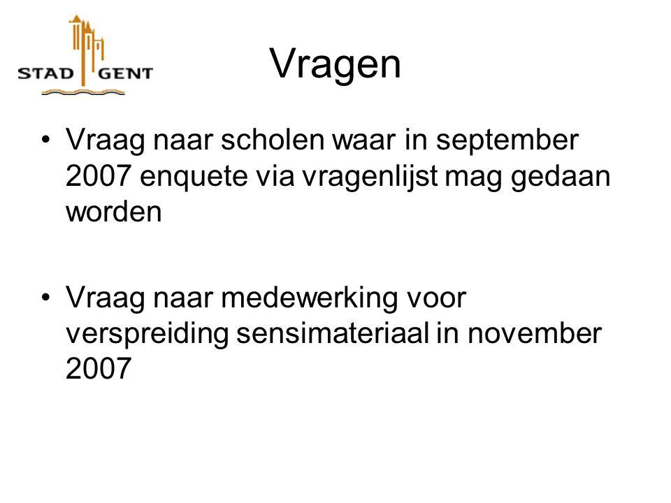Vragen Vraag naar scholen waar in september 2007 enquete via vragenlijst mag gedaan worden Vraag naar medewerking voor verspreiding sensimateriaal in november 2007