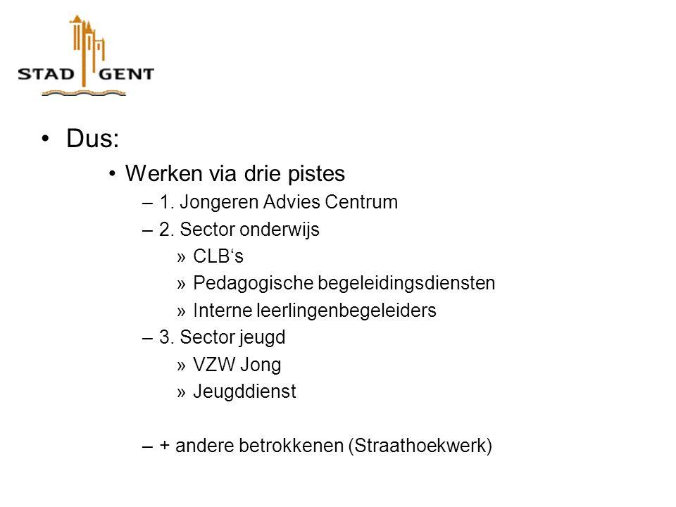 Dus: Werken via drie pistes –1. Jongeren Advies Centrum –2.
