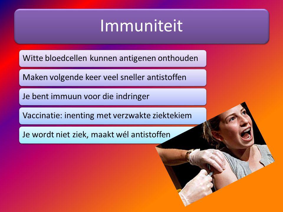 Immuniteit Witte bloedcellen kunnen antigenen onthoudenMaken volgende keer veel sneller antistoffenJe bent immuun voor die indringerVaccinatie: inenti