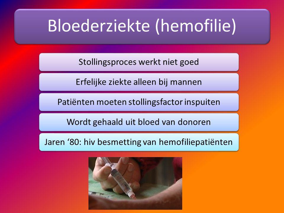 Bloederziekte (hemofilie) Stollingsproces werkt niet goedErfelijke ziekte alleen bij mannenPatiënten moeten stollingsfactor inspuitenWordt gehaald uit