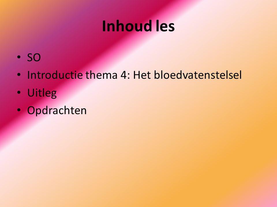 Inhoud les SO Introductie thema 4: Het bloedvatenstelsel Uitleg Opdrachten