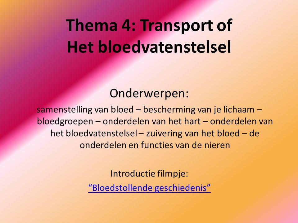 Thema 4: Transport of Het bloedvatenstelsel Onderwerpen: samenstelling van bloed – bescherming van je lichaam – bloedgroepen – onderdelen van het hart – onderdelen van het bloedvatenstelsel – zuivering van het bloed – de onderdelen en functies van de nieren Introductie filmpje: Bloedstollende geschiedenis
