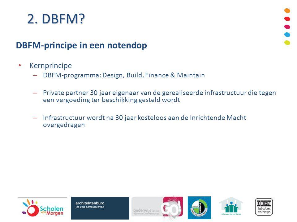Kernprincipe – DBFM-programma: Design, Build, Finance & Maintain – Private partner 30 jaar eigenaar van de gerealiseerde infrastructuur die tegen een vergoeding ter beschikking gesteld wordt – Infrastructuur wordt na 30 jaar kosteloos aan de Inrichtende Macht overgedragen 2.