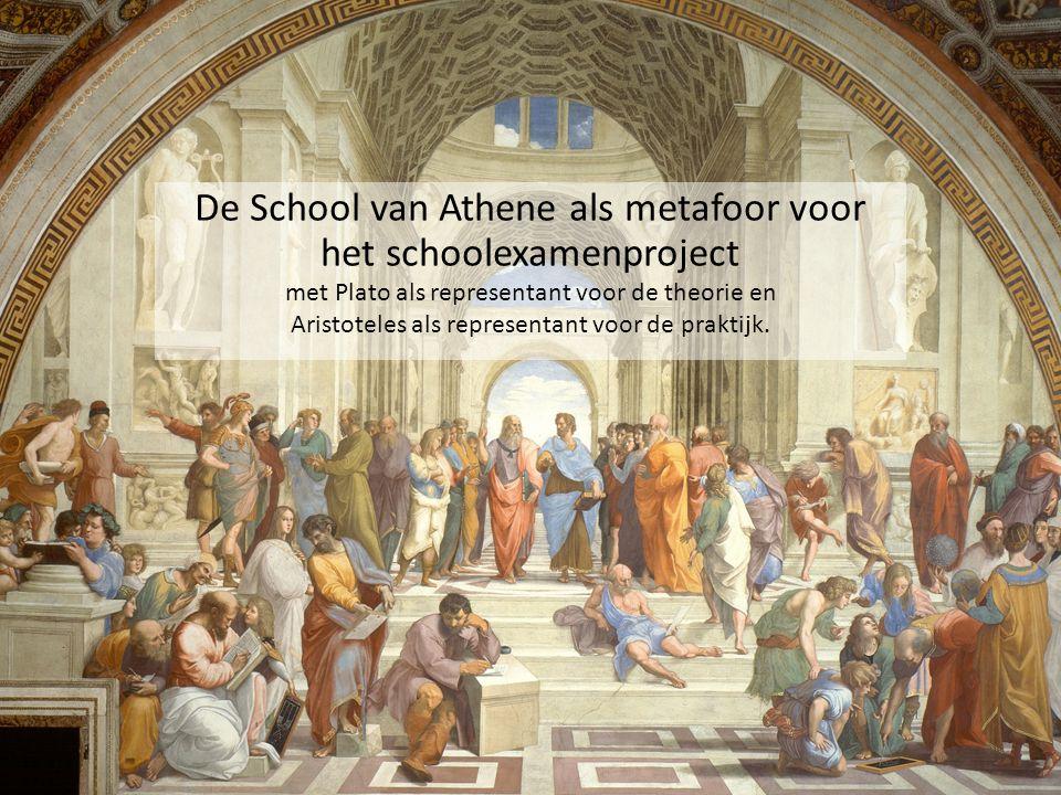 De School van Athene als metafoor voor het schoolexamenproject met Plato als representant voor de theorie en Aristoteles als representant voor de prak