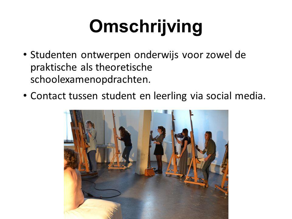 Omschrijving Studenten ontwerpen onderwijs voor zowel de praktische als theoretische schoolexamenopdrachten. Contact tussen student en leerling via so
