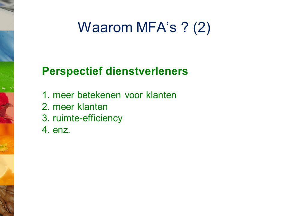 Waarom MFA's ? (2) Perspectief dienstverleners 1.meer betekenen voor klanten 2.meer klanten 3.ruimte-efficiency 4.enz.