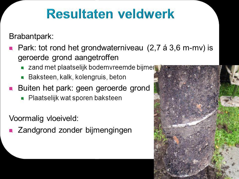 Brabantpark: Park: tot rond het grondwaterniveau (2,7 á 3,6 m-mv) is geroerde grond aangetroffen zand met plaatselijk bodemvreemde bijmengingen Bakste