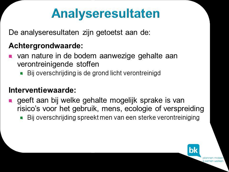De analyseresultaten zijn getoetst aan de: Achtergrondwaarde: van nature in de bodem aanwezige gehalte aan verontreinigende stoffen Bij overschrijding