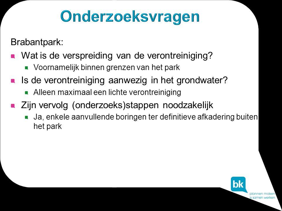 Brabantpark: Wat is de verspreiding van de verontreiniging? Voornamelijk binnen grenzen van het park Is de verontreiniging aanwezig in het grondwater?