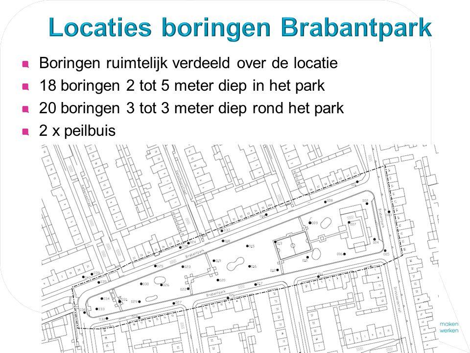 Boringen ruimtelijk verdeeld over de locatie 18 boringen 2 tot 5 meter diep in het park 20 boringen 3 tot 3 meter diep rond het park 2 x peilbuis