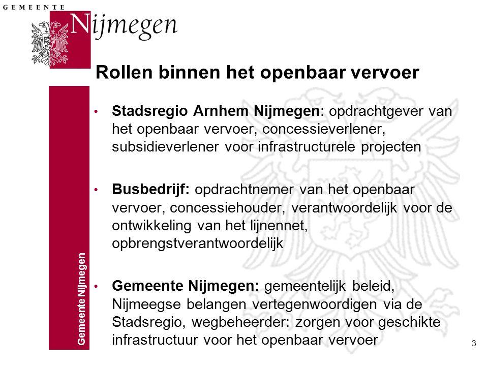 Gemeente Nijmegen 3 Rollen binnen het openbaar vervoer Stadsregio Arnhem Nijmegen: opdrachtgever van het openbaar vervoer, concessieverlener, subsidie