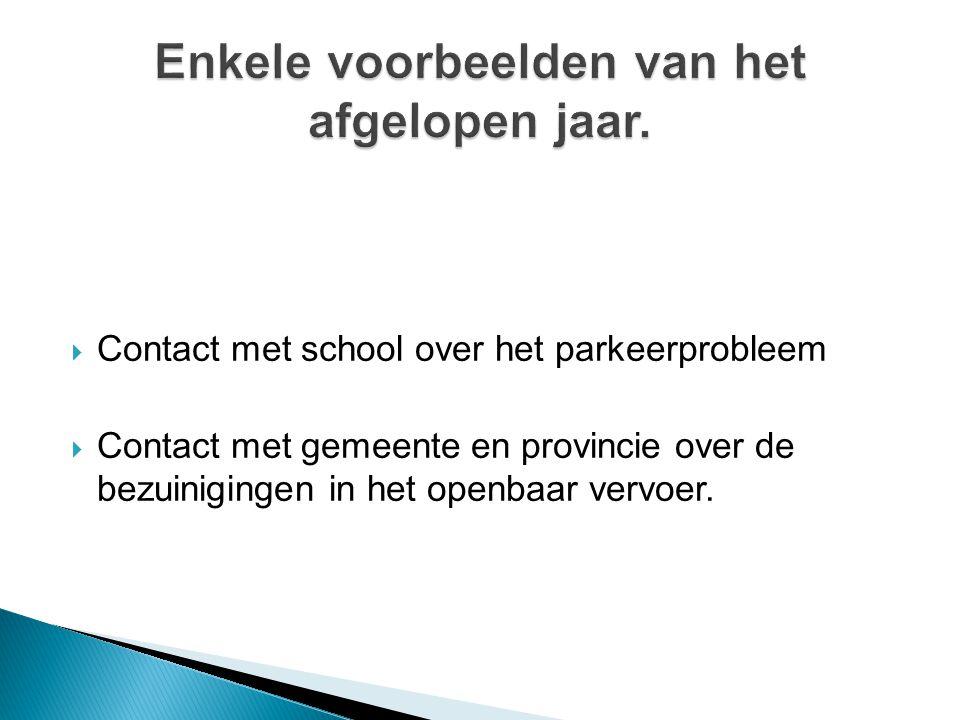  Contact met school over het parkeerprobleem  Contact met gemeente en provincie over de bezuinigingen in het openbaar vervoer.