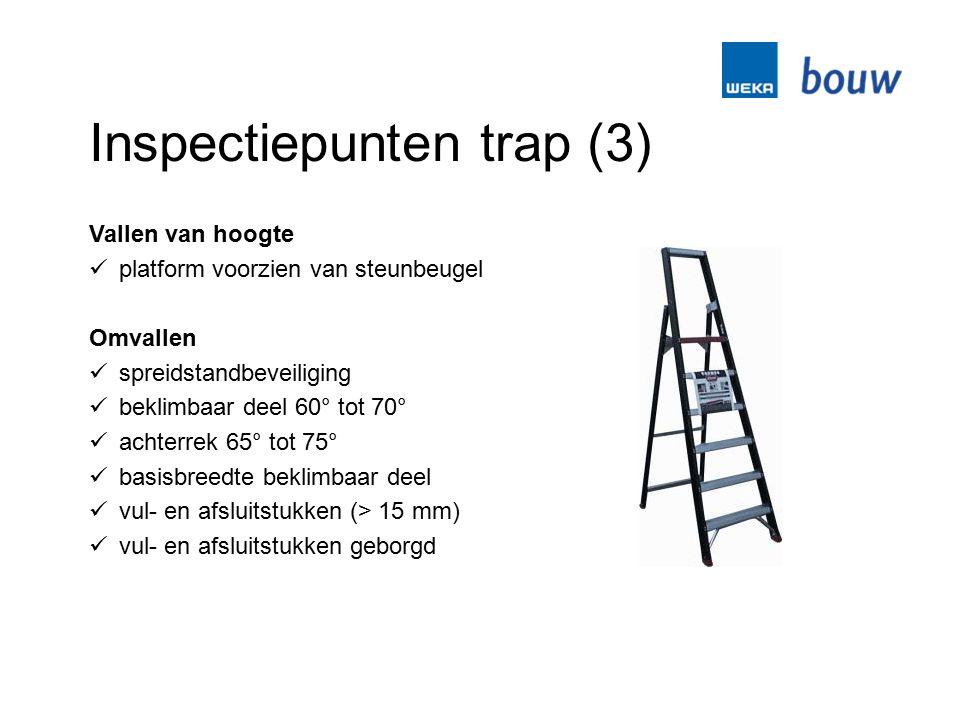 Inspectiepunten trap (3) Vallen van hoogte platform voorzien van steunbeugel Omvallen spreidstandbeveiliging beklimbaar deel 60° tot 70° achterrek 65°