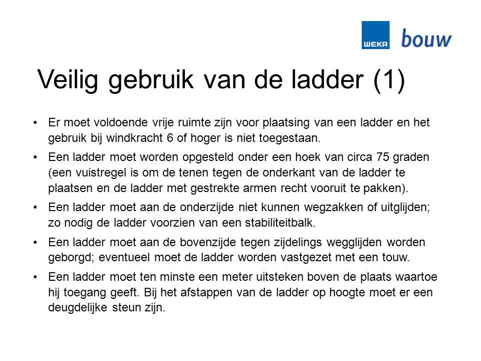 Veilig gebruik van de ladder (1) Er moet voldoende vrije ruimte zijn voor plaatsing van een ladder en het gebruik bij windkracht 6 of hoger is niet to
