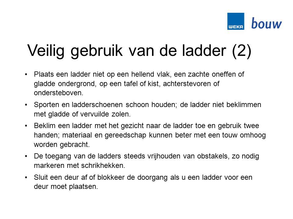 Veilig gebruik van de ladder (2) Plaats een ladder niet op een hellend vlak, een zachte oneffen of gladde ondergrond, op een tafel of kist, achterstev