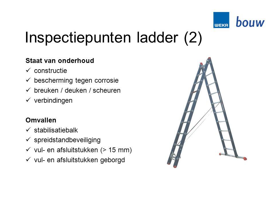 Inspectiepunten ladder (2) Staat van onderhoud constructie bescherming tegen corrosie breuken / deuken / scheuren verbindingen Omvallen stabilisatieba