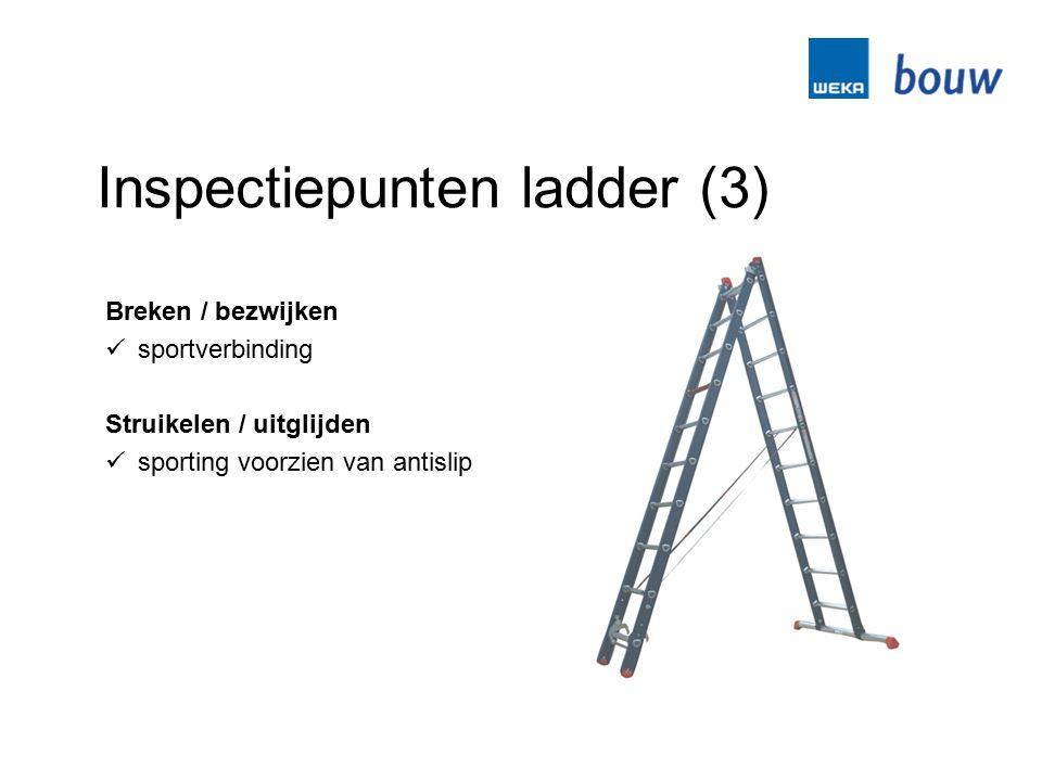 Inspectiepunten ladder (3) Breken / bezwijken sportverbinding Struikelen / uitglijden sporting voorzien van antislip