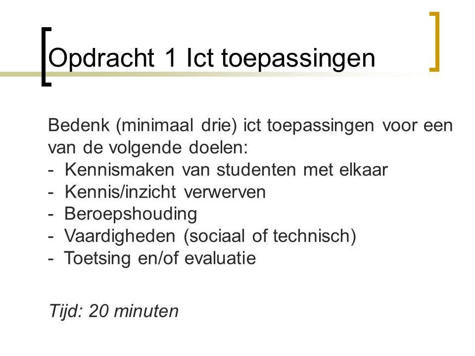 Opdracht 2 ict werkvormen integreren Bedenk (minimaal drie) ICT toepassingen voor de eigen les(sen) en werk ze voor zover mogelijk uit.