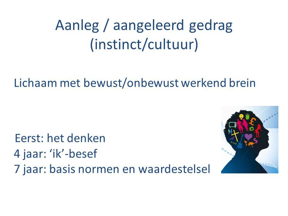 Aanleg / aangeleerd gedrag (instinct/cultuur) Lichaam met bewust/onbewust werkend brein Eerst: het denken 4 jaar: 'ik'-besef 7 jaar: basis normen en waardestelsel