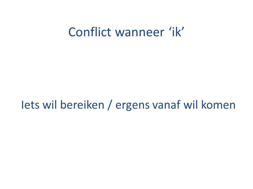 Conflict wanneer 'ik' Iets wil bereiken / ergens vanaf wil komen