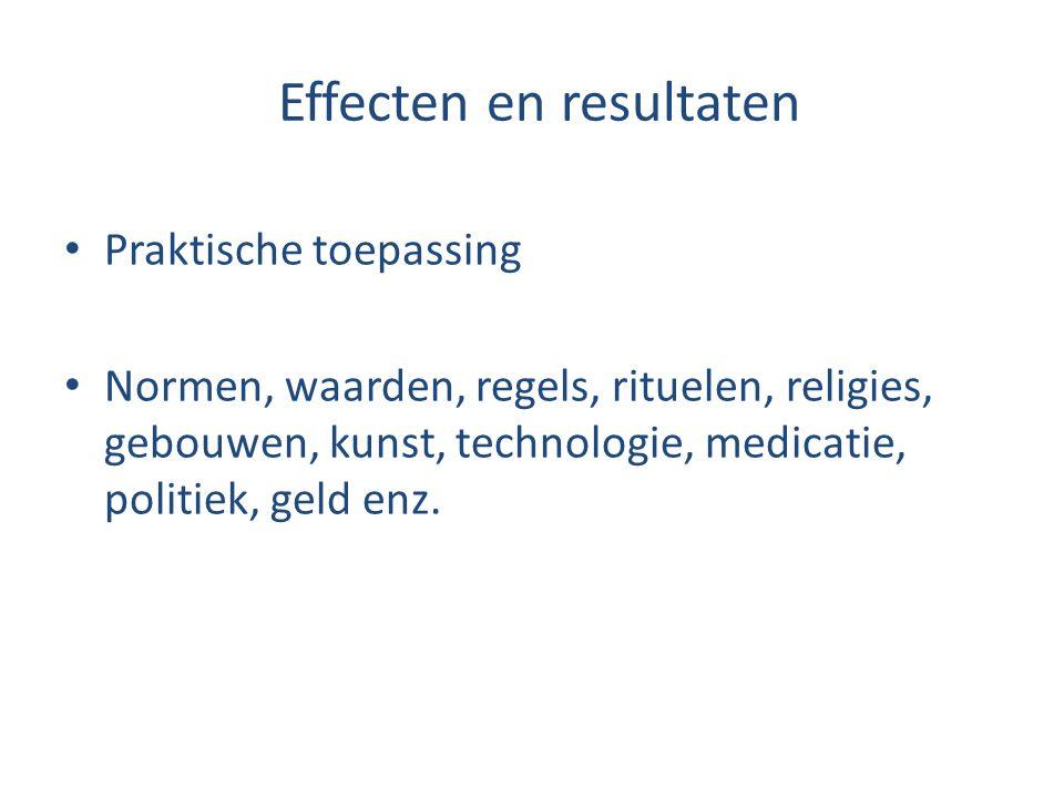Effecten en resultaten Praktische toepassing Normen, waarden, regels, rituelen, religies, gebouwen, kunst, technologie, medicatie, politiek, geld enz.