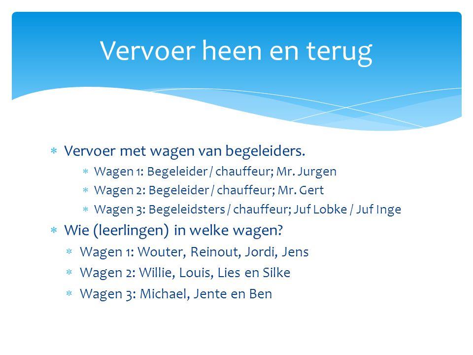  Vervoer met wagen van begeleiders.  Wagen 1: Begeleider / chauffeur; Mr. Jurgen  Wagen 2: Begeleider / chauffeur; Mr. Gert  Wagen 3: Begeleidster