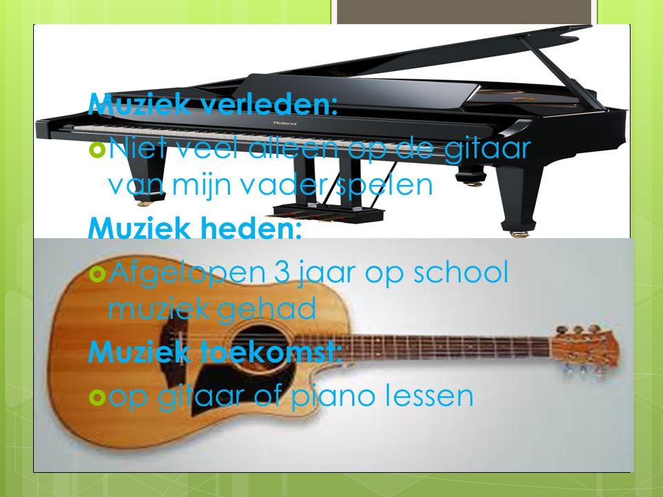Muziek verleden:  Niet veel alleen op de gitaar van mijn vader spelen Muziek heden:  Afgelopen 3 jaar op school muziek gehad Muziek toekomst:  op g