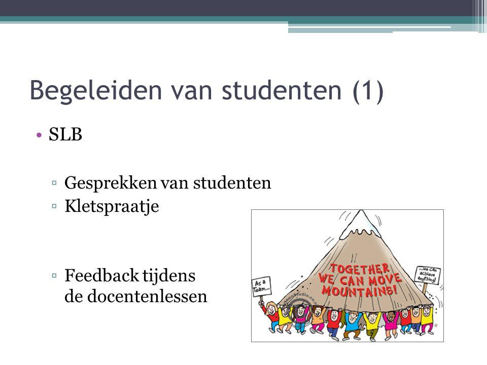 Begeleiden van studenten (1) SLB ▫Gesprekken van studenten ▫Kletspraatje ▫Feedback tijdens de docentenlessen