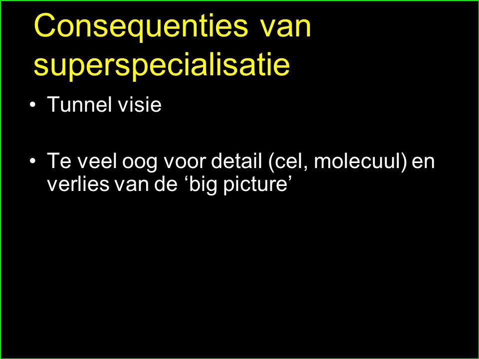 Consequenties van superspecialisatie Tunnel visie Te veel oog voor detail (cel, molecuul) en verlies van de 'big picture'